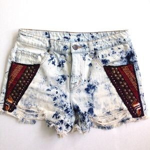 BDG Acid Wash Embellished Cutoff Shorts